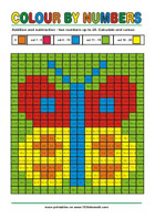 Color by Numbers - Addition and Subtraction - Math Worksheets 1st Grade