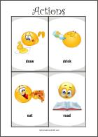 Actions - Free printable flash cards for fun preschool learning
