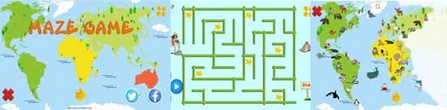 Maze game - World map for kids - World of animals