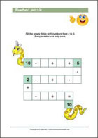 Numeral snake - fill in the numbers - Printable Worksheet