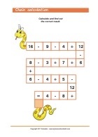 Numeral Snake - Addition and Subtraction - Math Worksheets 1st Grade