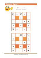 Numeral Square - Addition and Subtraction - Math Worksheets 2nd Grade