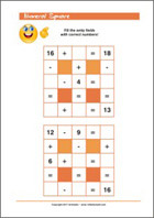 Numeral Square - Addition and Subtraction - Math Worksheets 1st Grade