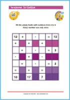 Numeral square - fill in the numbers - Printable Worksheet