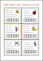 Math Riddle Cards - Addition and Subtraction - Math Worksheets 1st Grade
