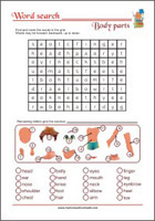 Word Search Worksheet - Body Parts