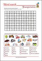 Word Search Worksheet - Transportation